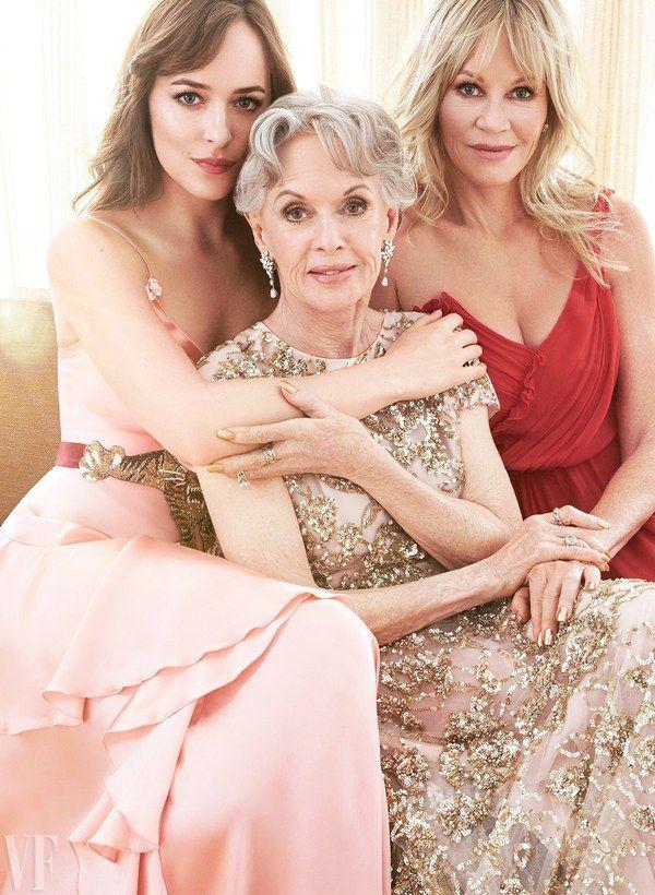 Tippi Hedren with her granddaughter Dakota Johnson and daughter, Melanie Griffith ~ October 2016