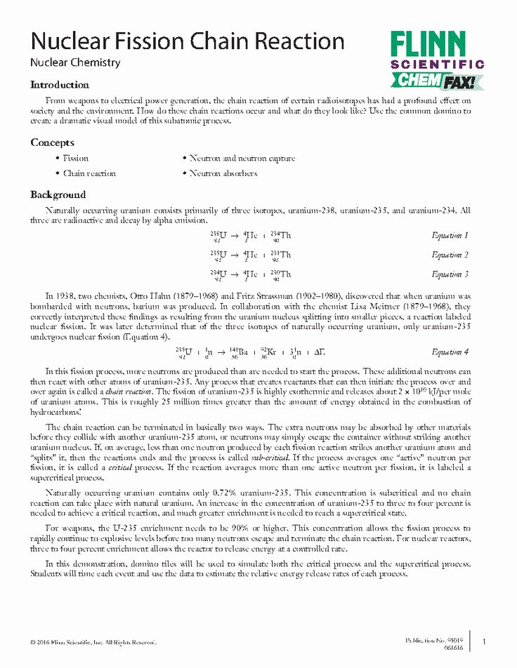 Nuclear Reactions Worksheet Answers Fresh Nuclear Fission ...
