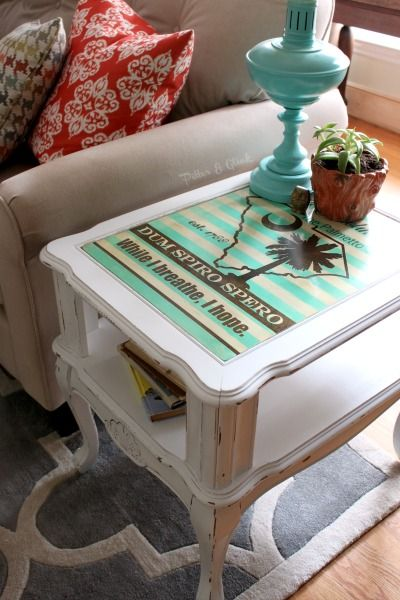 Sneak a tribute to your home state onto a side table with a vinyl decal sealed with Mod Podge.