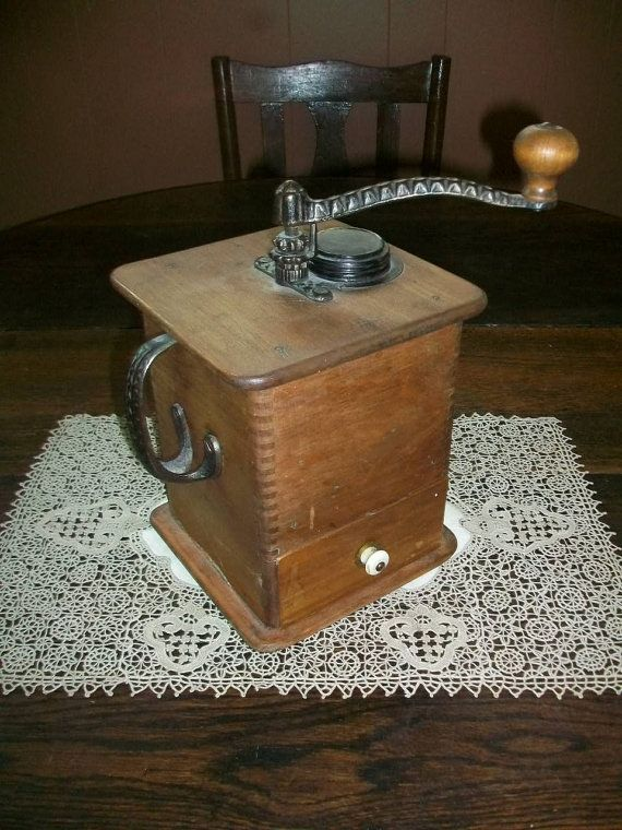 Coffee Grinder Of 1920 ~ Antique coffee grinder wood and cast iron s