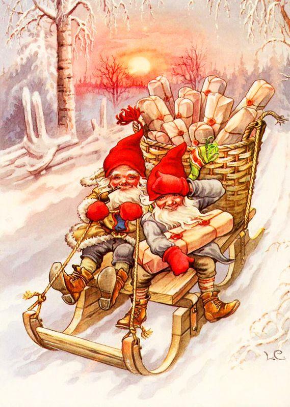Рождественские открытки санта клаус с эльфами