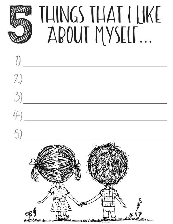 FREE Printable Self Esteem Worksheets. Making a list of things you like about yourself and reviewing it regularly will  make you happier and help you create joy in your life.