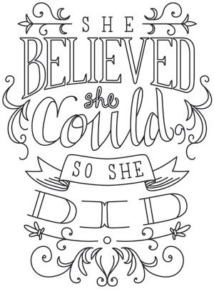 """""""She Believed She Could"""" Craft a bit of inspiration with this sweet, simple typography design! Downloads as a PDF. Use pattern transfer paper to trace design for hand-stitching. UTH8413 (Hand Embroidery) 00766883-08252014-1208-4"""