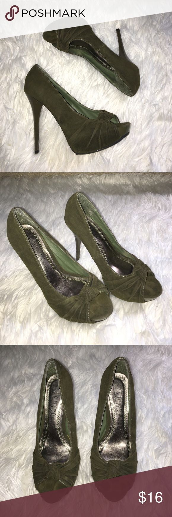 Army green pumps Simple and elegant army green stilettos. 6in heel with platform. Very comfortable and easy to walk in. Worn once, no wear or damage marks. rouge Shoes Platforms