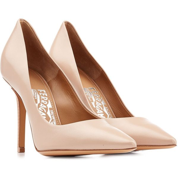 Salvatore Ferragamo High-Heel Leather Pumps (340 CAD) ❤ liked on Polyvore featuring shoes, pumps, heels, high heels, scarpe, beige, stiletto heel pumps, high heel pumps, beige leather pumps and pointed toe high heel pumps