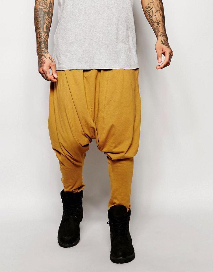 Cool ASOS Extreme Drop Crotch Joggers In Lightweight Fabric In Tan - Cumin ASOS Bukser til Herrer til enhver anledning