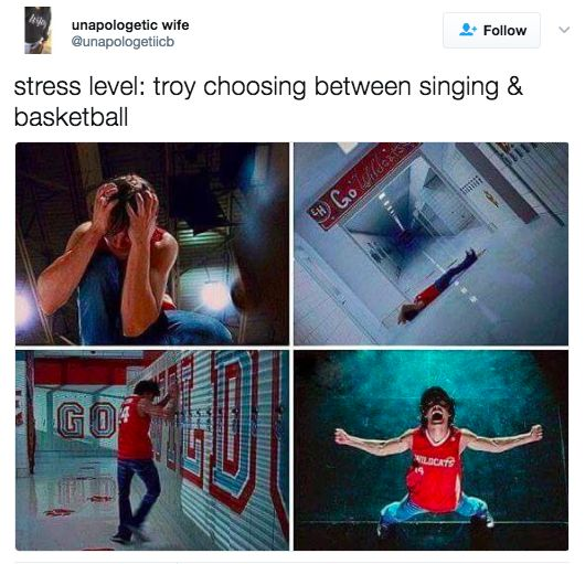 """Stress level: Troy choosing between singing and basketball."""
