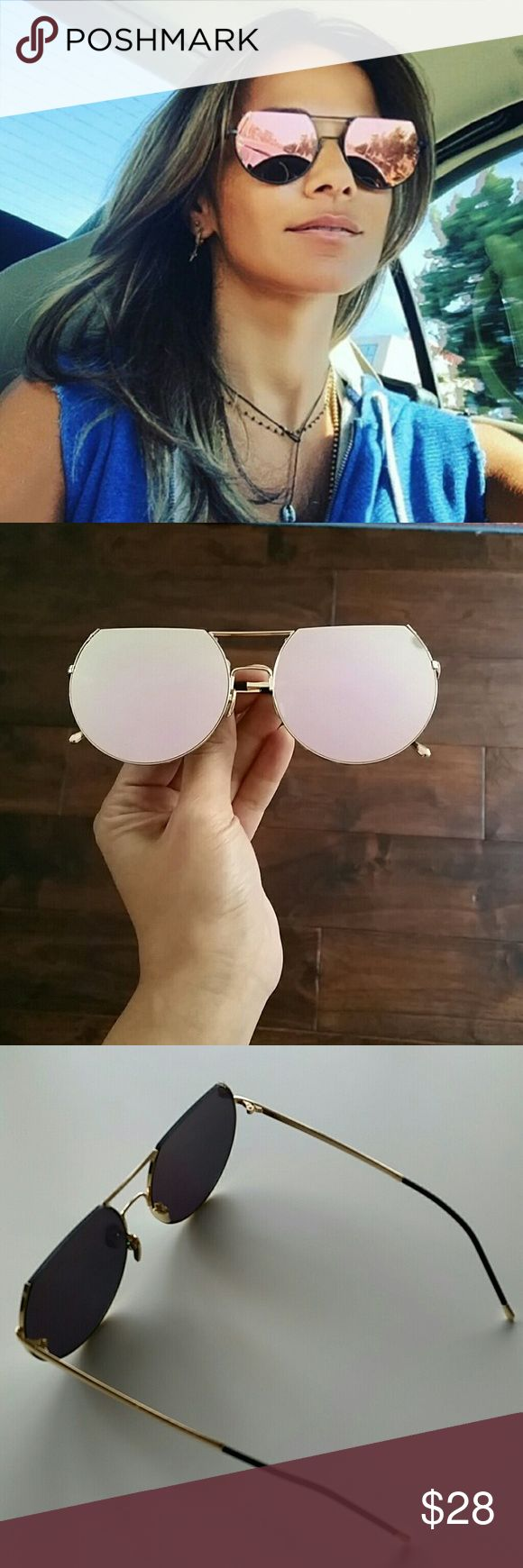 Rose Gold Mirrored Flat Top Sunglasses Trendy rose gold mirrored sunnies.  Double bridge, flat tops.  Rose gold mirrored lense with gold frame. New. ***Same sunglasses in different colors available as separate listings!*** @alexiscb  Accessories Sunglasses