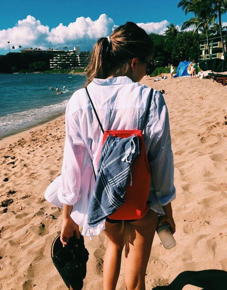 Beach days in Hawaii with the Knotty Original Turkish towel in Denim. www.knotty.com.au