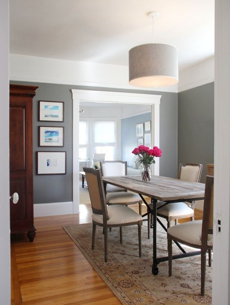 benjamin moore chelsea gray in a dining room with white cove ceilings. Best dark gray paint color