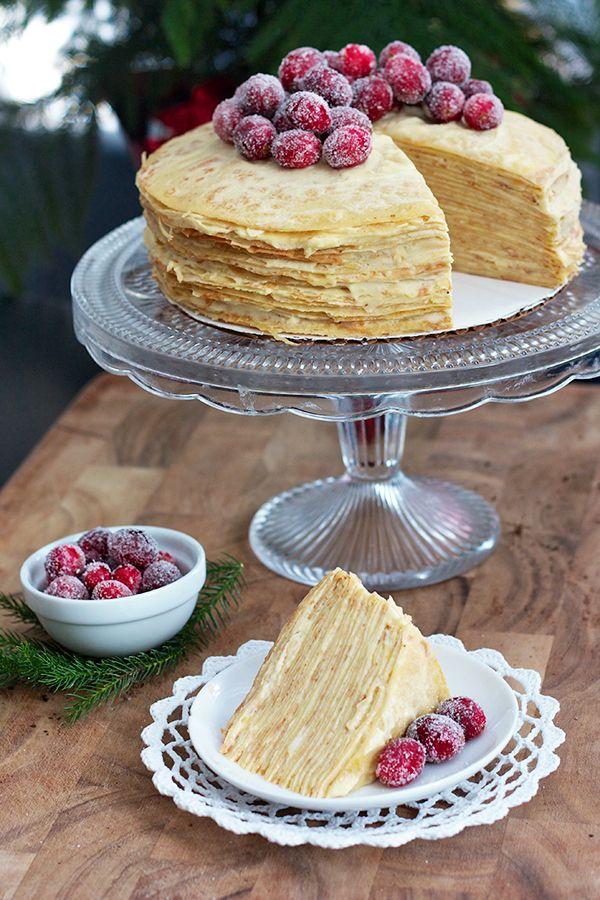 Sugared Cranberry Crepe Cake Gateau de crêpes à la framboise