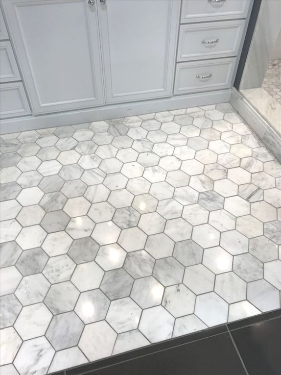 Love This Grey With The Darker Grout Hexagon Floor Tile In Bathroom Hexagon Bathroom Bathroom Tile Inspiration Beautiful Tile Bathroom Small Bathroom Tiles