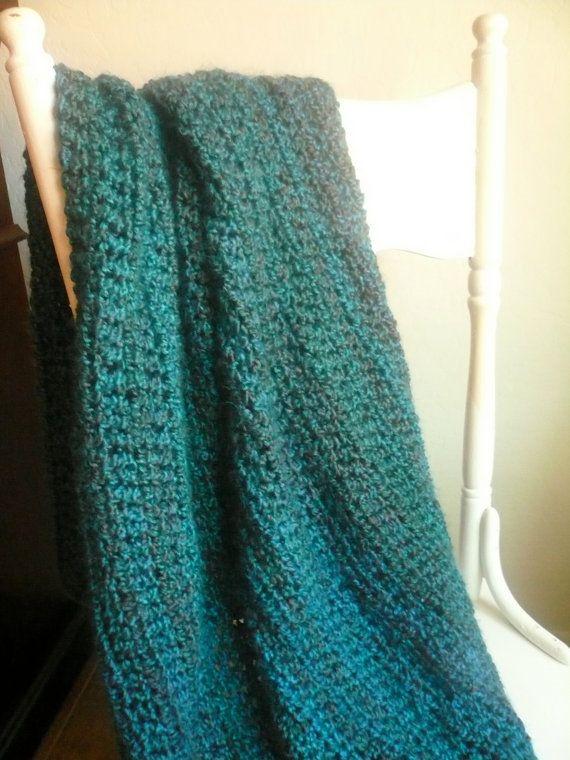 Teal Throw Blanket Crochet Afghan On Etsy 71 85 Livingroom In 2018 Throws