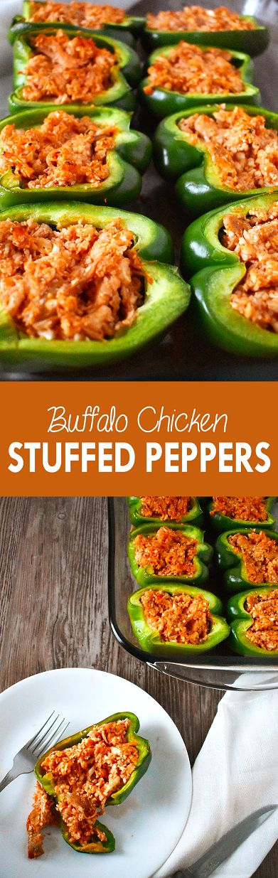 These buffalo chicken stuffed peppers are healthy and filling, with a spicy kick | The Small Town Foodie