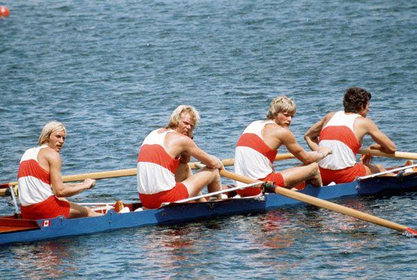 Ian Gordon, Phil Monckton, Andy Van Ruyven et Brian Dick du Canada participent à l'épreuve du quatre d'aviron aux Jeux olympiques de Montréal de 1976. (Photo PC/AOC)