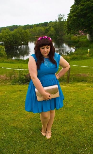Oasis blue lace dress, Purple Crown and Glory floral Headband, Nude Topshop heels, Rose Gold New Look Clutch