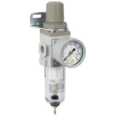 PneumaticPlus SAW200-N02BG Miniature Compressed Air Filter Regulator Piggyback Combo 1/4 inch NPT - Poly Bowl, Manual Drain, Bracket, Gauge