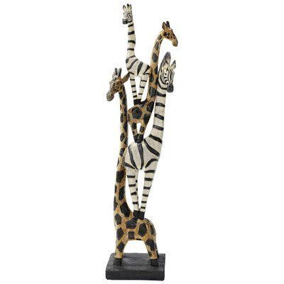 Zebra and Giraffe Menagerie African Totem Statue by Design Toscano,  Fabulous Friends!