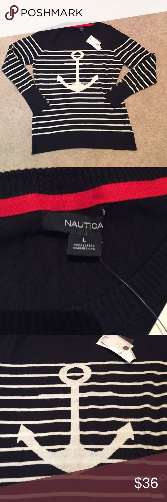 NWT nautica striped anchor sweater New with tags Nautica size large striped anchor sweater Nautica Sweaters