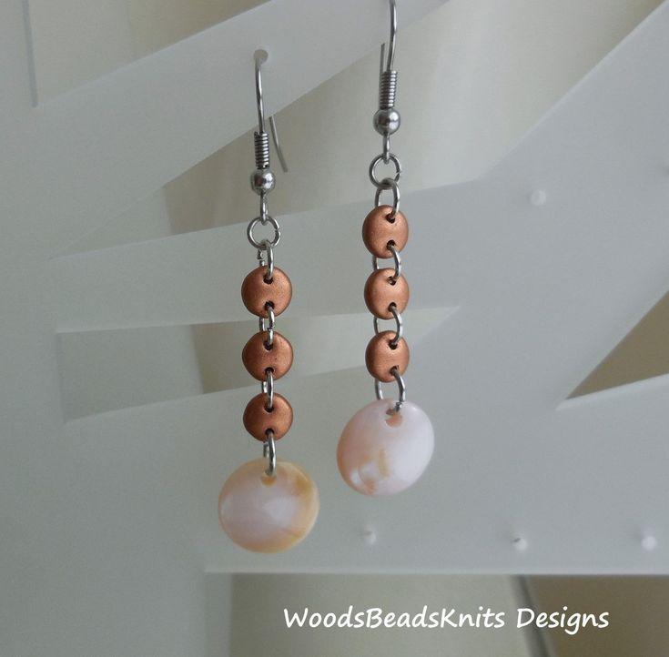 Pink Shell Earrings, Czech Glass Beads Earrings, Hypoallergenic Stainless Steel Hooks, Lightweight, Boho, Mother Day Gift