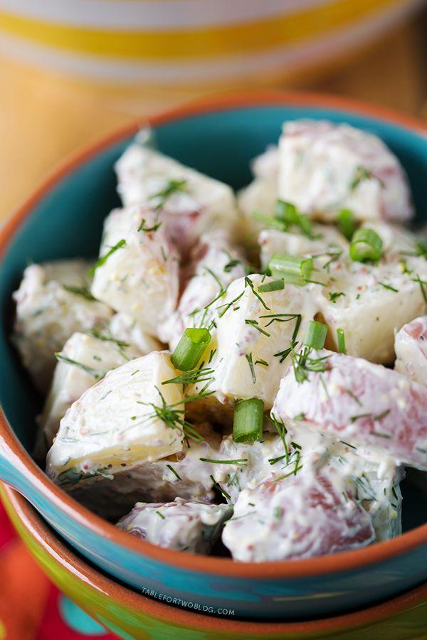 Healthy Red Potato and Dill Salad |(tablefortwoblog.com) - basically, greek yogurt, grainy mustard, dijon mustard, chives and dill.