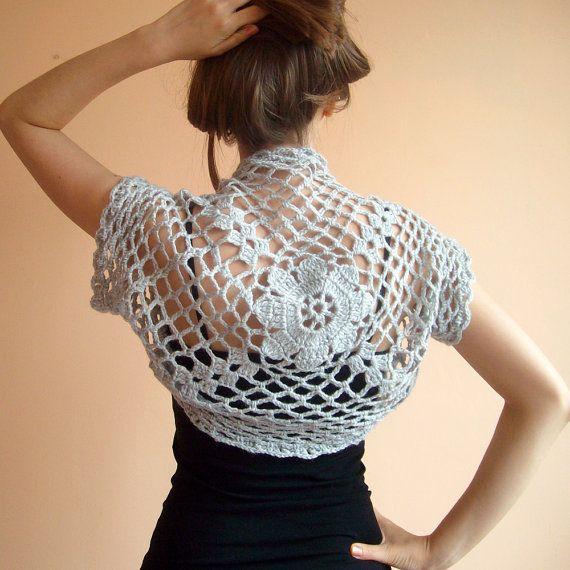 Grey Wedding Shrug Bolero ,Crochet Lace Bridal Shrug Bolero