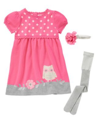 Gymboree Girl - Bright Owl 8/19/13. Light Summer, warm light pink and light and cool heathered grey.
