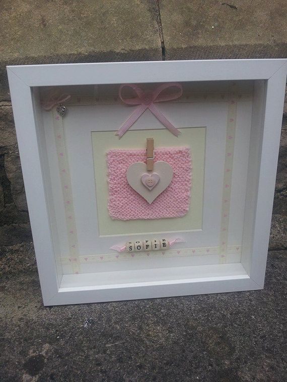 personalised new babychristening 3d box frame
