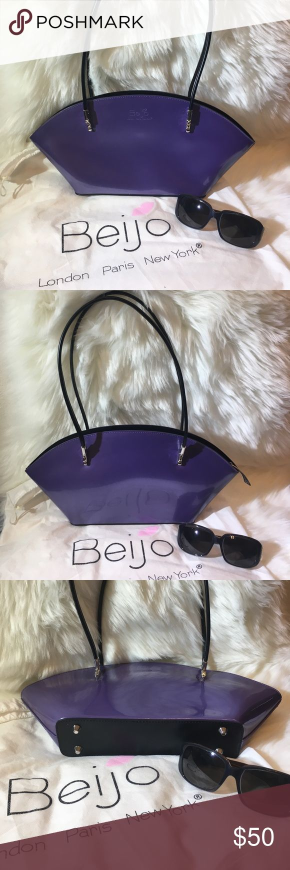NEOT Gorgeous purple patent Beijo bag Beautiful Beijo 'Over the Moon' shoulder bag in purple patent leather! The only flaw on this bag is an interior pen mark, as seen in photo. Nice silvertone hardware and feet. Comes with dust bag! Beijo Bags Shoulder Bags