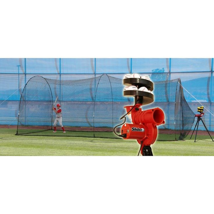 Heater Slider Lite-Ball Baseball Pitching Machine & PowerAlley 20' Batting Cage, Silver