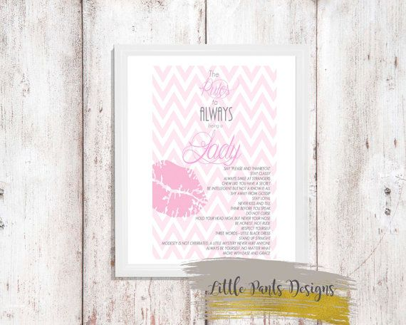 The Rules to Always being a Lady Digital Print in Pink chevron lips DIY Printable Card Poster by LittlePantsDesigns