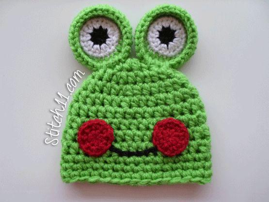 Free- Crochet- Frog-Hat-Pattern, lots of cute hats!
