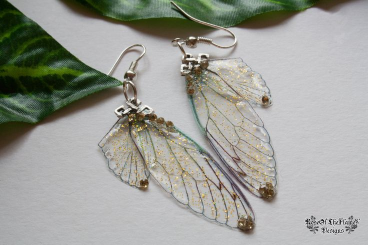 Fairy wings earrings jewelry. Yellow earrings. Yellow glitter earrings. Transparent wings earrings jewelry. Fantasy earrings jewelry - pinned by pin4etsy.com