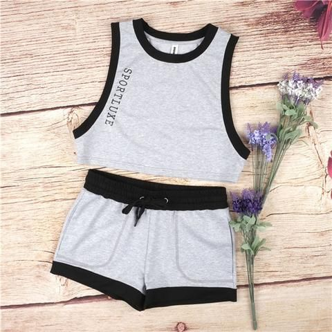 2016 letter print Tracksuit Women Sleeveless Sweatshirt +short Pant Jogging Sports Costumes Track suit women sportswear suit set - Hespirides Gifts - 1