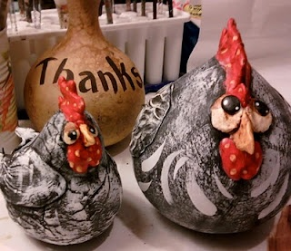 chickens made from gourds