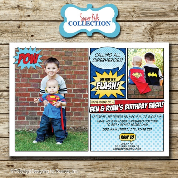 Super Hero superhero Photo Birthday Invitation, comic book invite, superhero party, superman, photo card, digital, printable. $15.00, via Etsy.