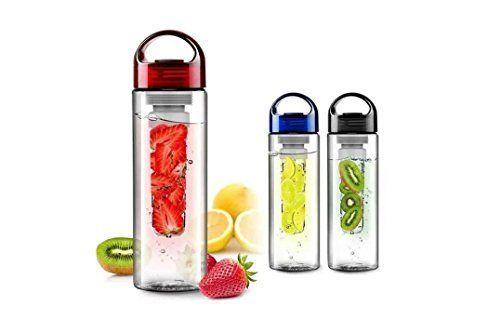 700ml Azul Fruta Infusing Botella de agua con frutas infusor y tapa Limón Zumo Botella de hacer, 700ml-black, 700 ml