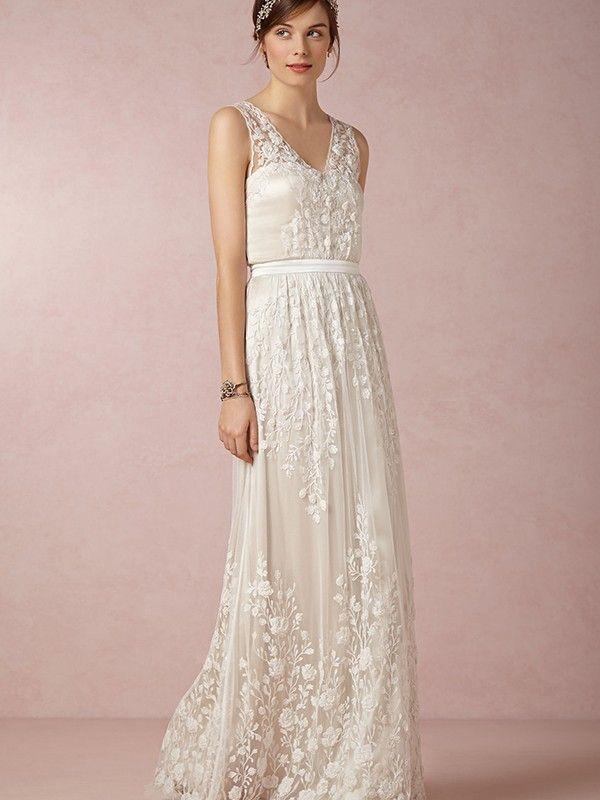 A-line/Princess V-Ausschnitt Floor-length Chiffon rmellos Wedding Kleidenes