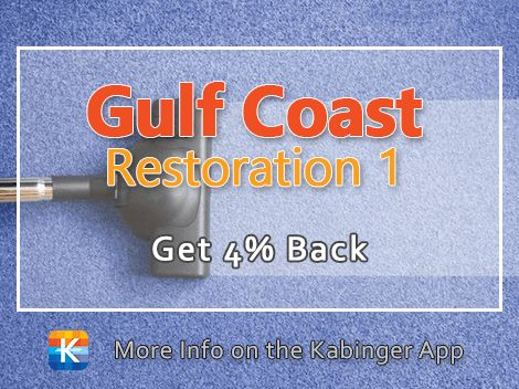 Welcome to our 3rd new merchant this week! Gulf Coast Restoration 1 will clean your tile, grout, carpet, and furniture and specializes in water damage restoration. New customers get 4% back!