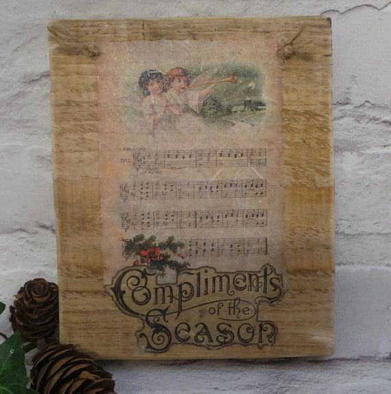 Christmas Wooden Sign Christmas Decorations by SCWVintage on Etsy