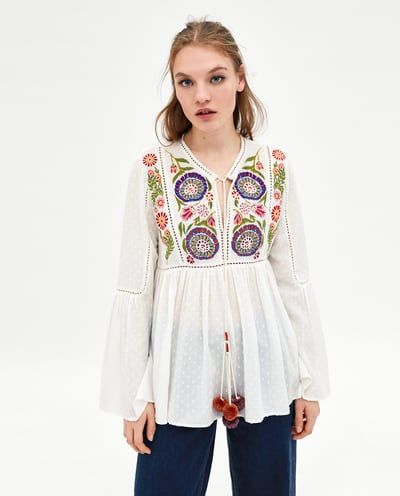 4d81bcc3 EMBROIDERED ROMANTIC TOP-View All-SHIRTS-TRF | ZARA United States ...