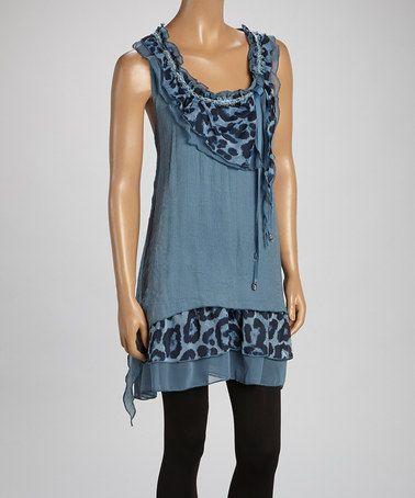 Loving this Blue Leopard Linen-Blend Sleeveless Tunic on #zulily! #zulilyfinds