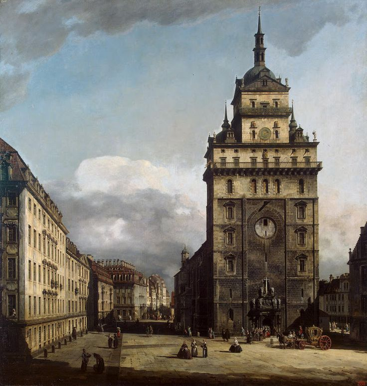 Bernardo Bellotto, cityscape & landscape paintings - Square with the Kreuz Kirche in Dresden
