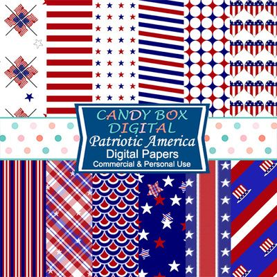 Patriotic America Digital Papers by Candy Box Digital. Red, white and blue. Stars and stripes. Colorful flags and buntings. These papers have it all for those who want to shout their patriotism. Great for blogs and webpages, scrapbooks and journals, cards, and paper crafts.