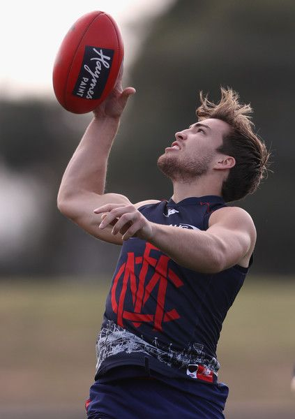 Jack Viney of the Demons controls the ball during a Melbourne Demons AFL training session at Casey Fields on May 18, 2016 in Melbourne, Australia.