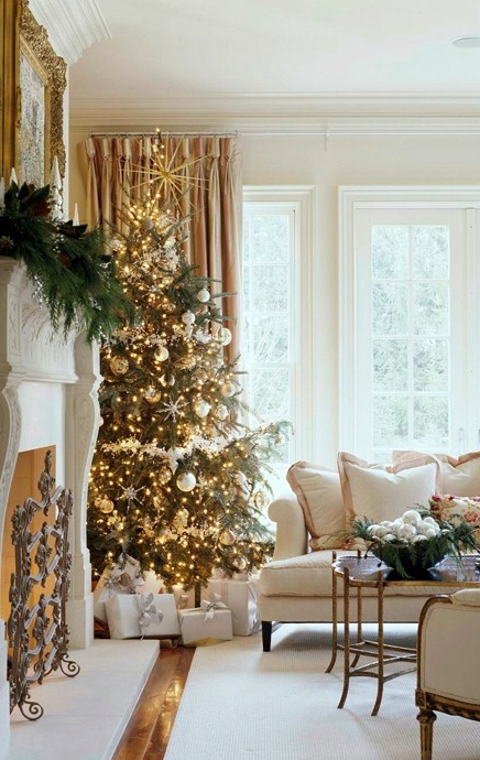 Decoration Elegant Christmas Ideas With Gold Tree And Fire Place At Living Room Picture