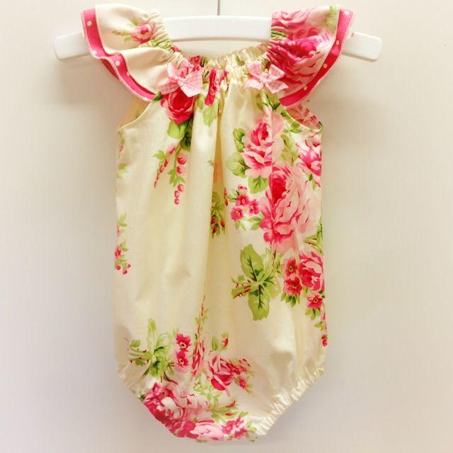 Barefoot Roses Romper Flutter Sleeves Baby Girl