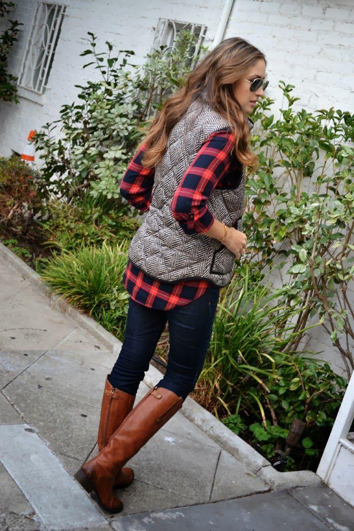 Plaid button up, herringbone vest. jeans, riding boots