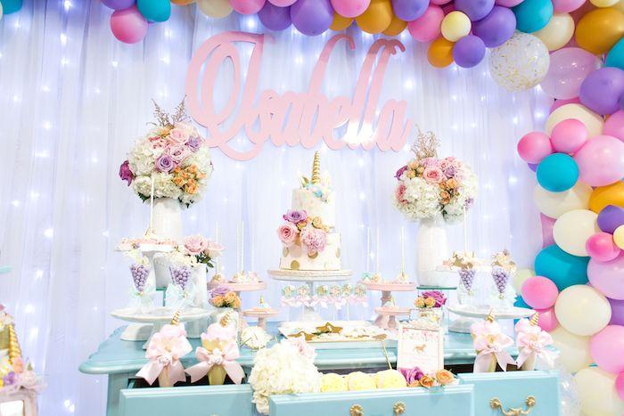 Unicorn dessert table from a Magical Unicorn Birthday Party on Kara's Party Ideas | KarasPartyIdeas.com (10)