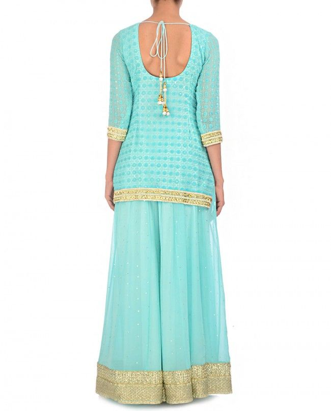 Embroidered Baby Blue Sharara Suit with Ombre Dupatta - Bhumika Grover - Designers